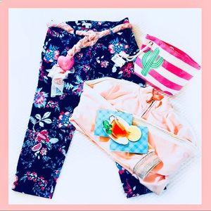 New York & Co Navy Pink Crop Pants